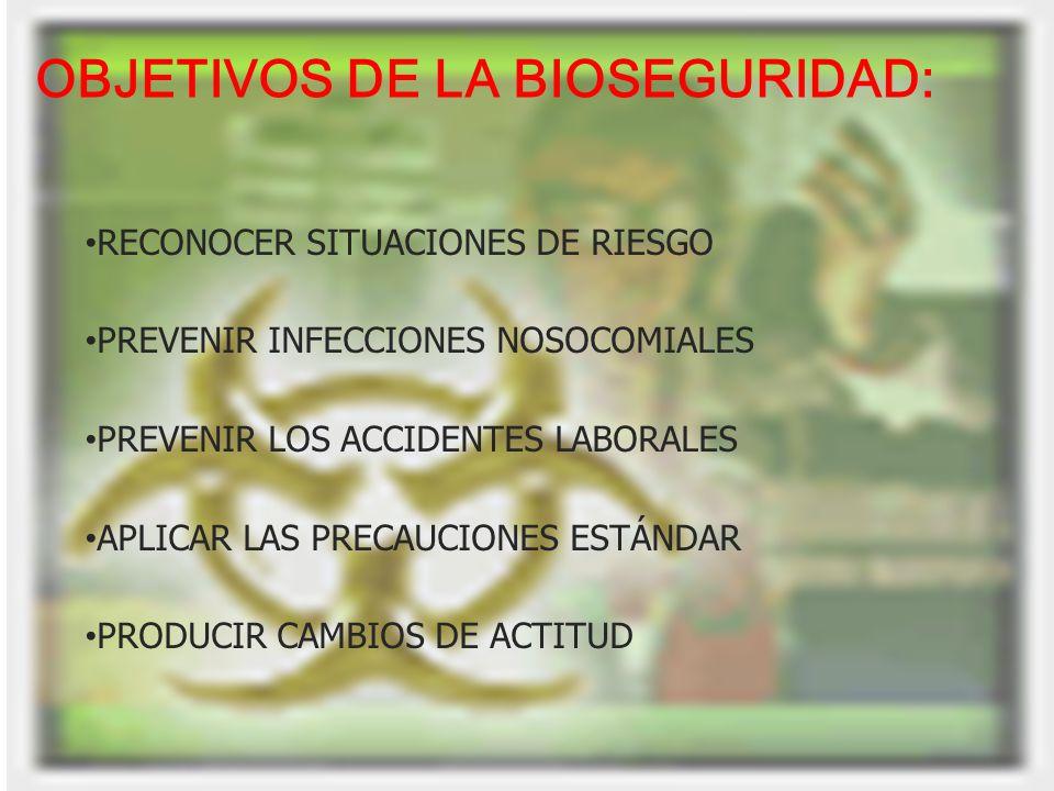 OBJETIVOS DE LA BIOSEGURIDAD: RECONOCER SITUACIONES DE RIESGO PREVENIR INFECCIONES NOSOCOMIALES PREVENIR LOS ACCIDENTES LABORALES APLICAR LAS PRECAUCI