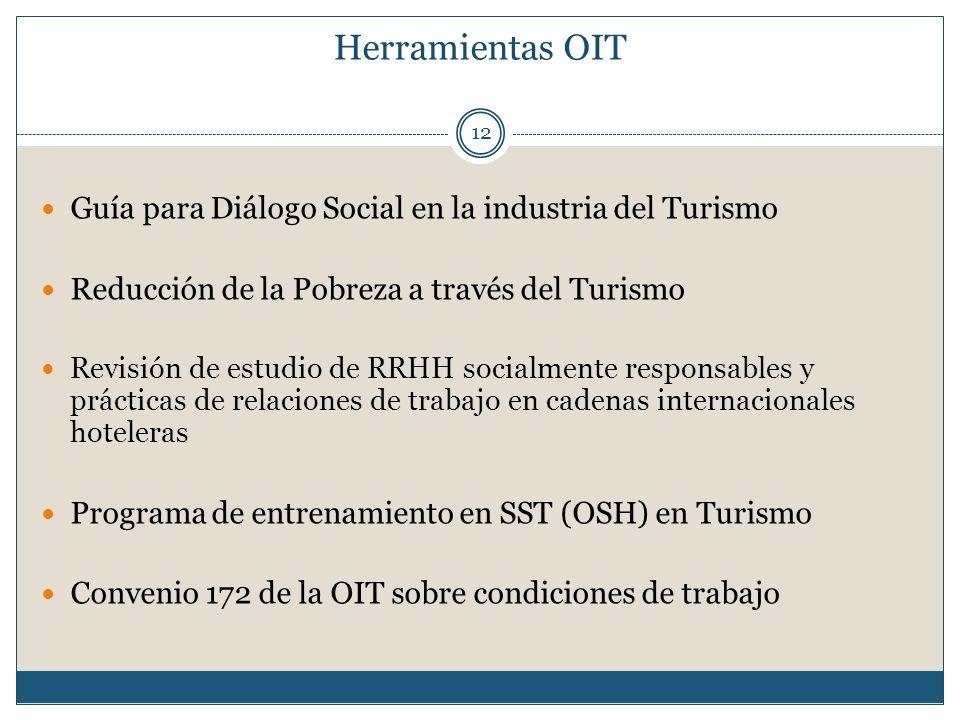 Herramientas OIT 12 Guía para Diálogo Social en la industria del Turismo Reducción de la Pobreza a través del Turismo Revisión de estudio de RRHH soci