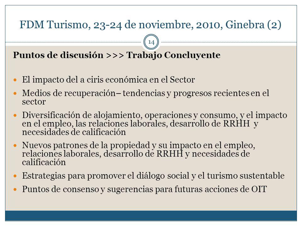 FDM Turismo, 23-24 de noviembre, 2010, Ginebra (2) 14 Puntos de discusión >>> Trabajo Concluyente El impacto del a ciris económica en el Sector Medios