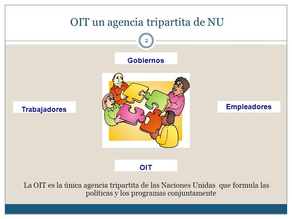 OIT un agencia tripartita de NU 2 La OIT es la única agencia tripartita de las Naciones Unidas que formula las políticas y los programas conjuntamente