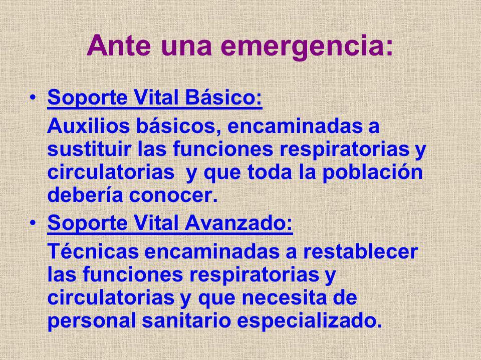 SOPORTE VITAL BÁSICO Concepto: Conjunto de actuaciones a realizar ante una situación de emergencia, que incluyen: - Detección de la emergencia - Llamada al sistema de emergencias (112) - Inicio del tratamiento básico que incluye la RCP inmediata.