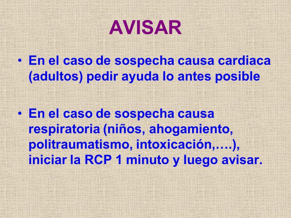 AVISAR En el caso de sospecha causa cardiaca (adultos) pedir ayuda lo antes posible En el caso de sospecha causa respiratoria (niños, ahogamiento, pol