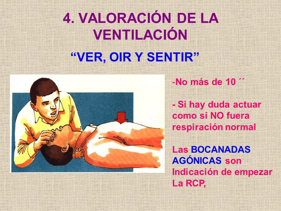 4. VALORACIÓN DE LA VENTILACIÓN VER, OIR Y SENTIR -No más de 10 ´´ - Si hay duda actuar como si NO fuera respiración normal Las BOCANADAS AGÓNICAS son