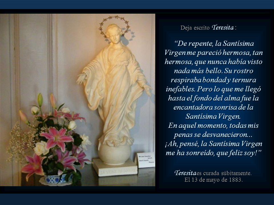 Es la imagen de La Virgen de la Sonrisa. Teresita se vuelve hacia la imagen que se encuentra al lado de su cama. Teresita se vuelve hacia la imagen qu