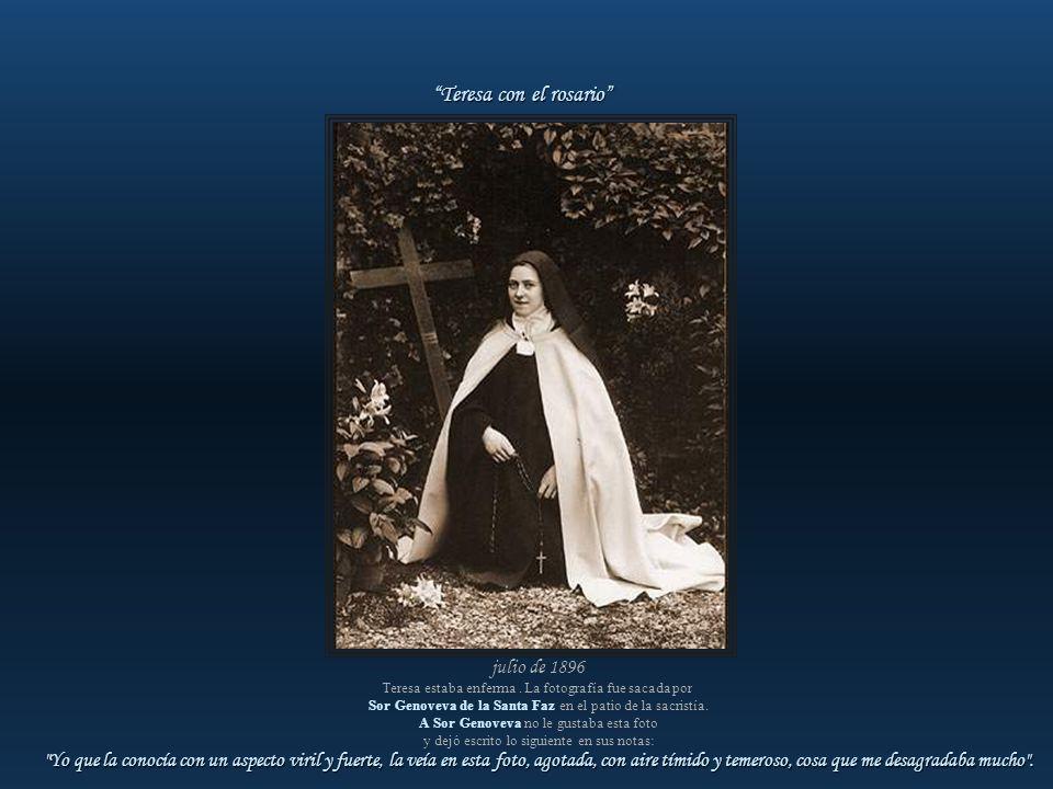 17 de marzo de 1896 En el proceso ordinario Sor Genoveva de la Santa Faz declaró: Había fotografiado a las novicias e hice también su fotografía. Quis