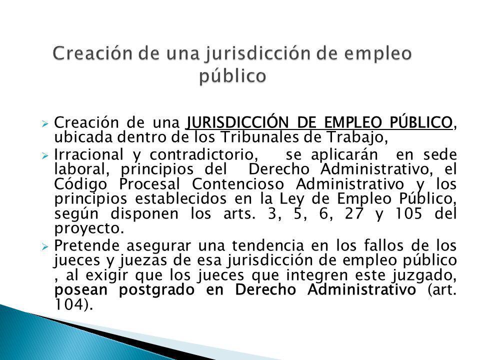 Creación de una JURISDICCIÓN DE EMPLEO PÚBLICO, ubicada dentro de los Tribunales de Trabajo, Irracional y contradictorio, se aplicarán en sede laboral