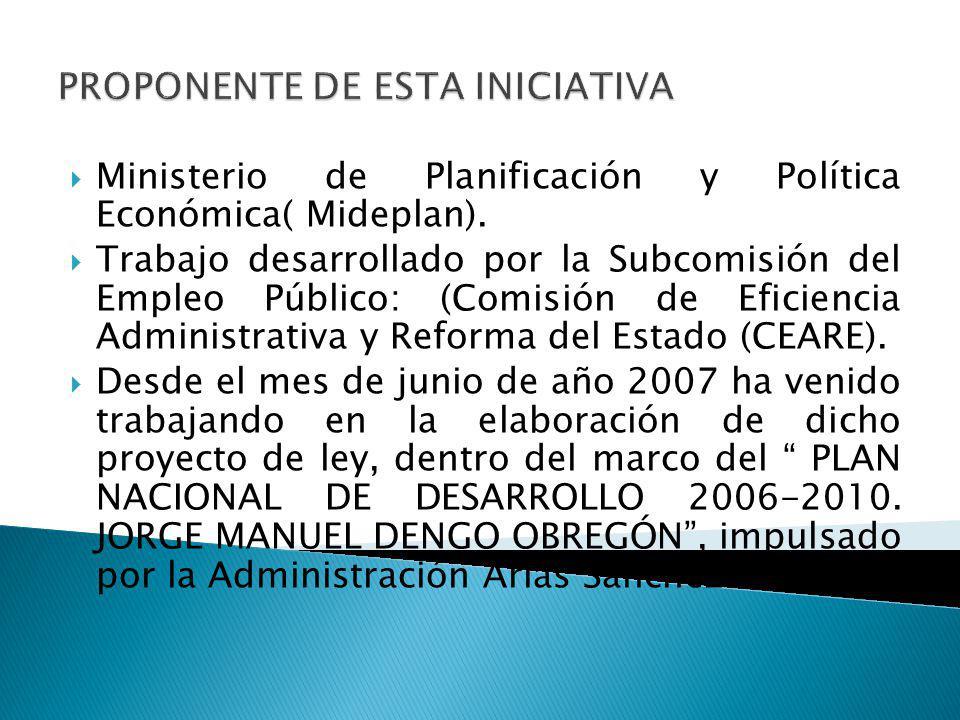 Ministerio de Planificación y Política Económica( Mideplan). Trabajo desarrollado por la Subcomisión del Empleo Público: (Comisión de Eficiencia Admin