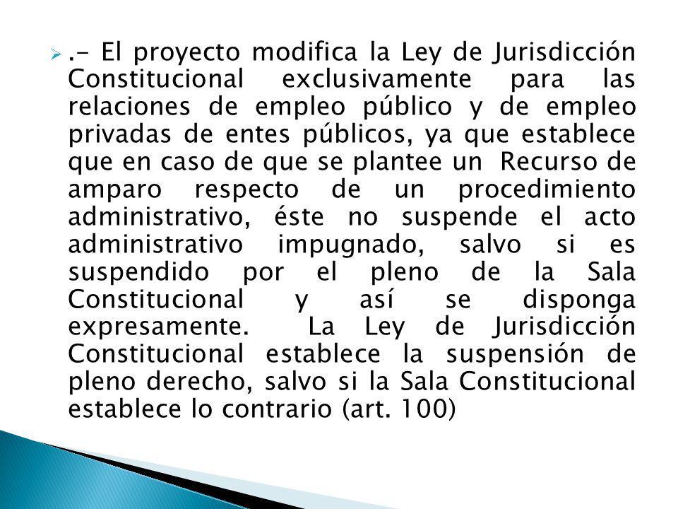 .- El proyecto modifica la Ley de Jurisdicción Constitucional exclusivamente para las relaciones de empleo público y de empleo privadas de entes públi