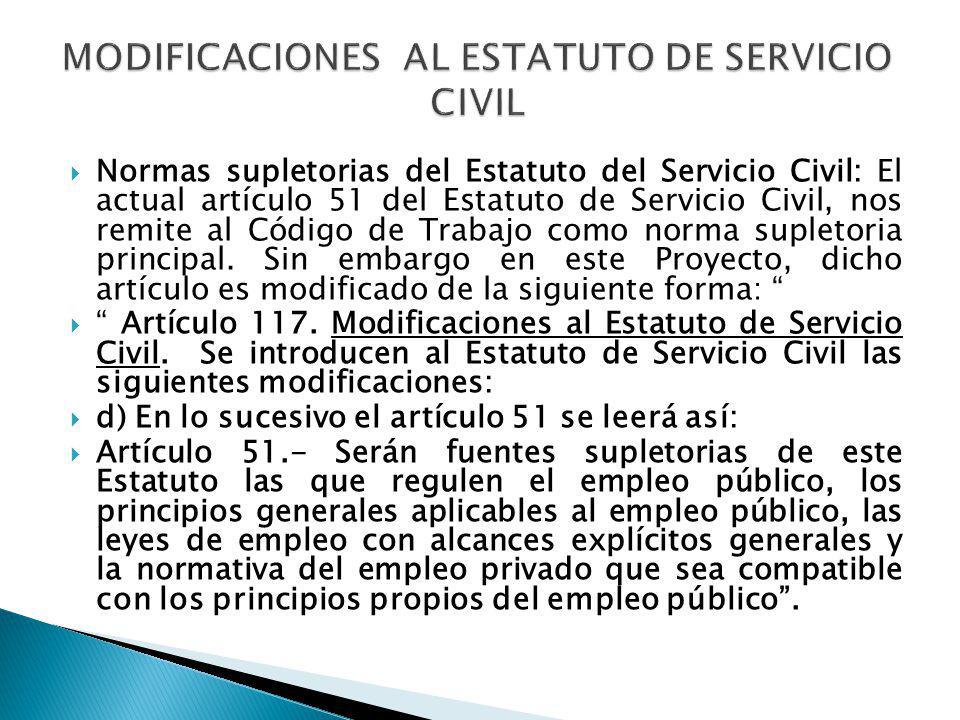 Normas supletorias del Estatuto del Servicio Civil: El actual artículo 51 del Estatuto de Servicio Civil, nos remite al Código de Trabajo como norma s
