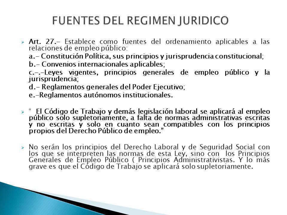 Art. 27.- Establece como fuentes del ordenamiento aplicables a las relaciones de empleo público: a.- Constitución Política, sus principios y jurisprud