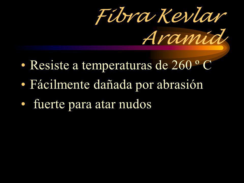 Fibra Kevlar Aramid Resiste a temperaturas de 260 º C Fácilmente dañada por abrasión fuerte para atar nudos