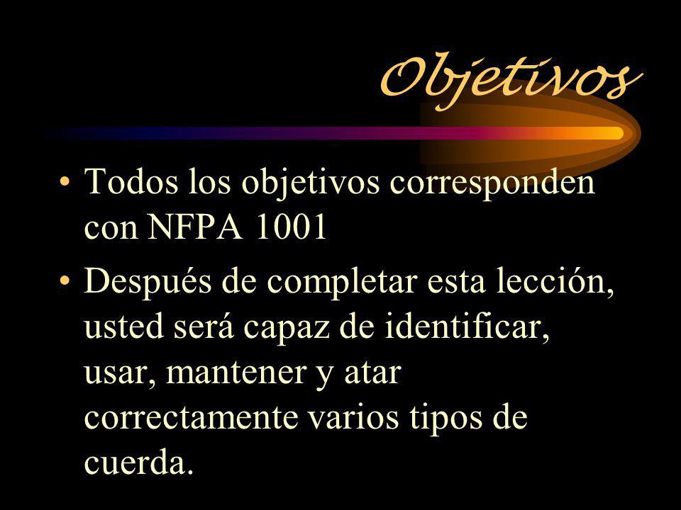 Objetivos Todos los objetivos corresponden con NFPA 1001 Después de completar esta lección, usted será capaz de identificar, usar, mantener y atar cor