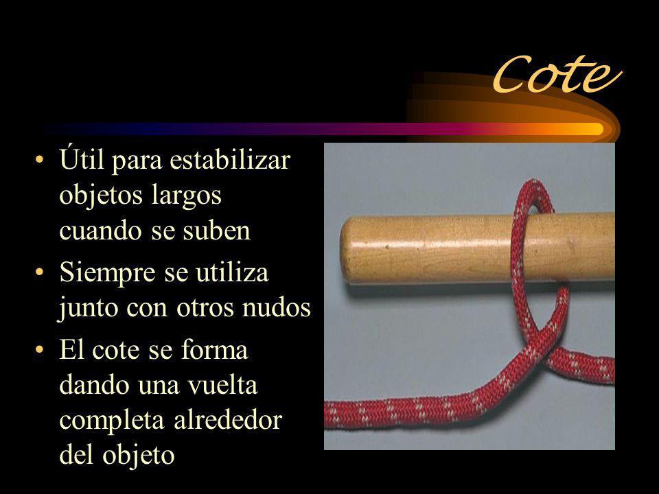 Cote Útil para estabilizar objetos largos cuando se suben Siempre se utiliza junto con otros nudos El cote se forma dando una vuelta completa alrededo