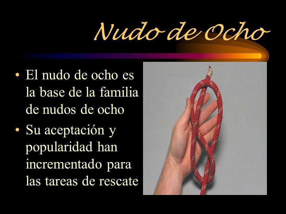 Nudo de Ocho El nudo de ocho es la base de la familia de nudos de ocho Su aceptación y popularidad han incrementado para las tareas de rescate