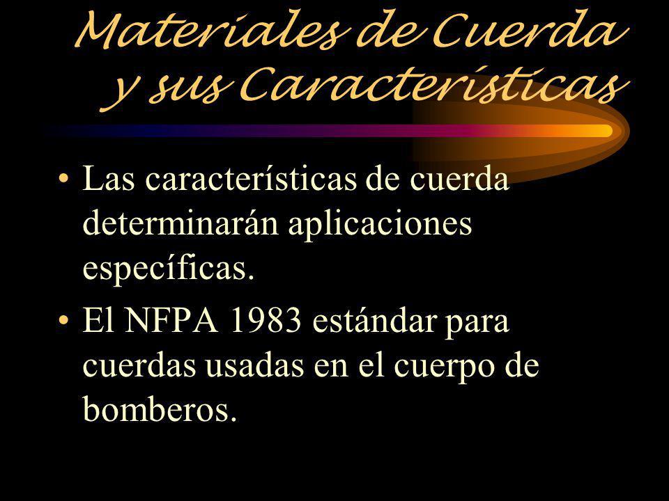 Materiales de Cuerda y sus Características Las características de cuerda determinarán aplicaciones específicas. El NFPA 1983 estándar para cuerdas usa
