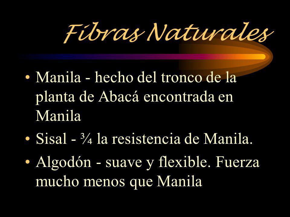 Fibras Naturales Manila - hecho del tronco de la planta de Abacá encontrada en Manila Sisal - ¾ la resistencia de Manila. Algodón - suave y flexible.