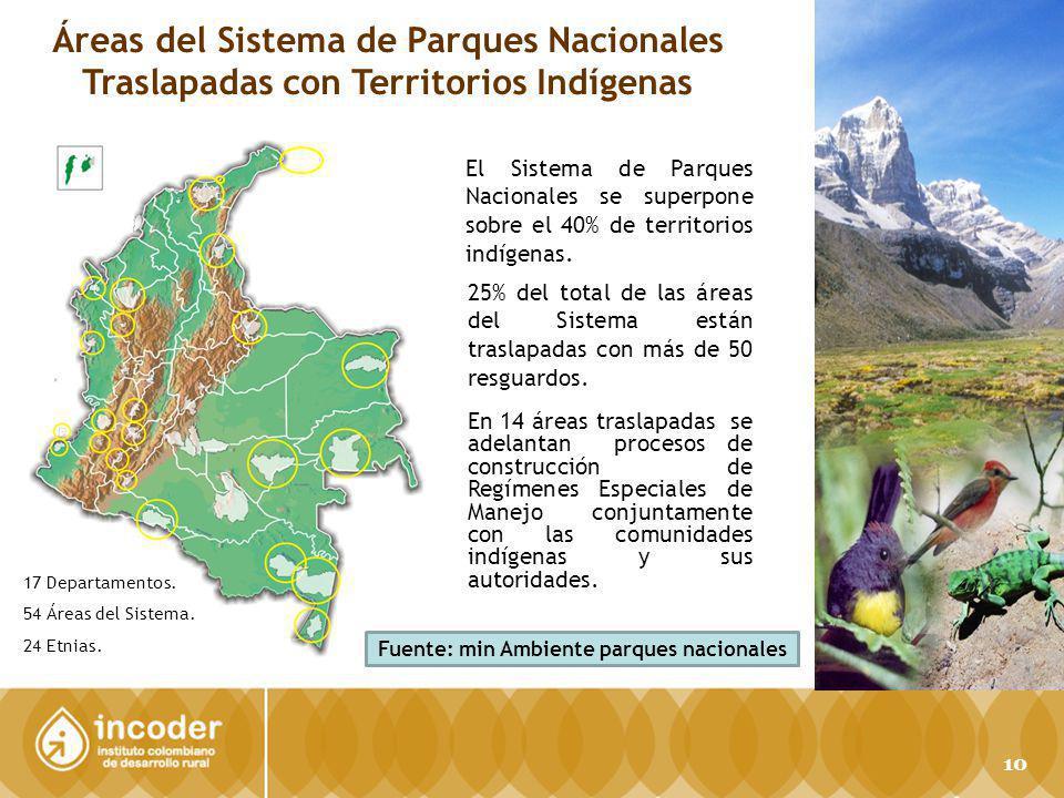 PARQUES NACIONALES NATURALES DE COLOMBIA Áreas del Sistema de Parques Nacionales Traslapadas con Territorios Indígenas El Sistema de Parques Nacionales se superpone sobre el 40% de territorios indígenas.