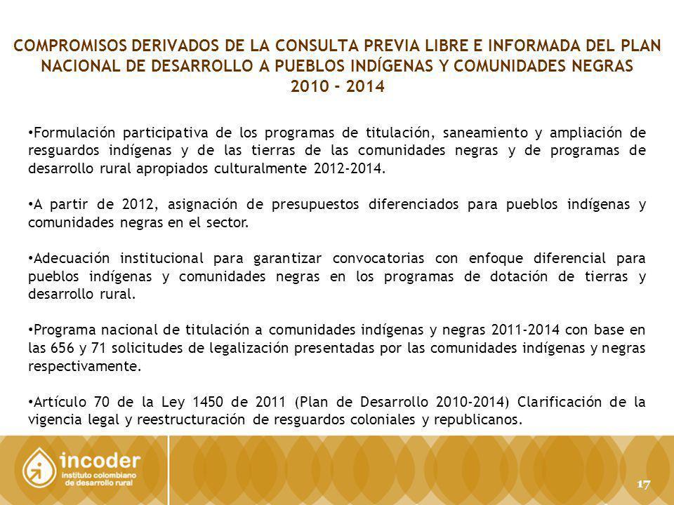 COMPROMISOS DERIVADOS DE LA CONSULTA PREVIA LIBRE E INFORMADA DEL PLAN NACIONAL DE DESARROLLO A PUEBLOS INDÍGENAS Y COMUNIDADES NEGRAS 2010 - 2014 For