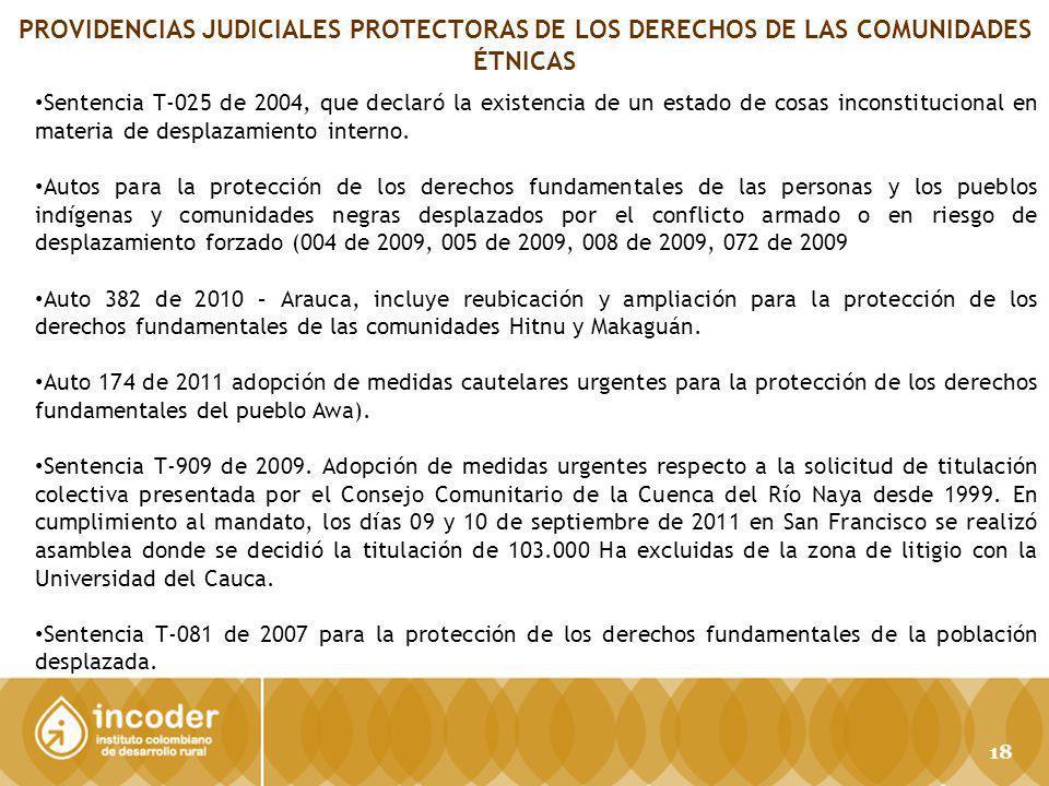 PROVIDENCIAS JUDICIALES PROTECTORAS DE LOS DERECHOS DE LAS COMUNIDADES ÉTNICAS Sentencia T-025 de 2004, que declaró la existencia de un estado de cosas inconstitucional en materia de desplazamiento interno.
