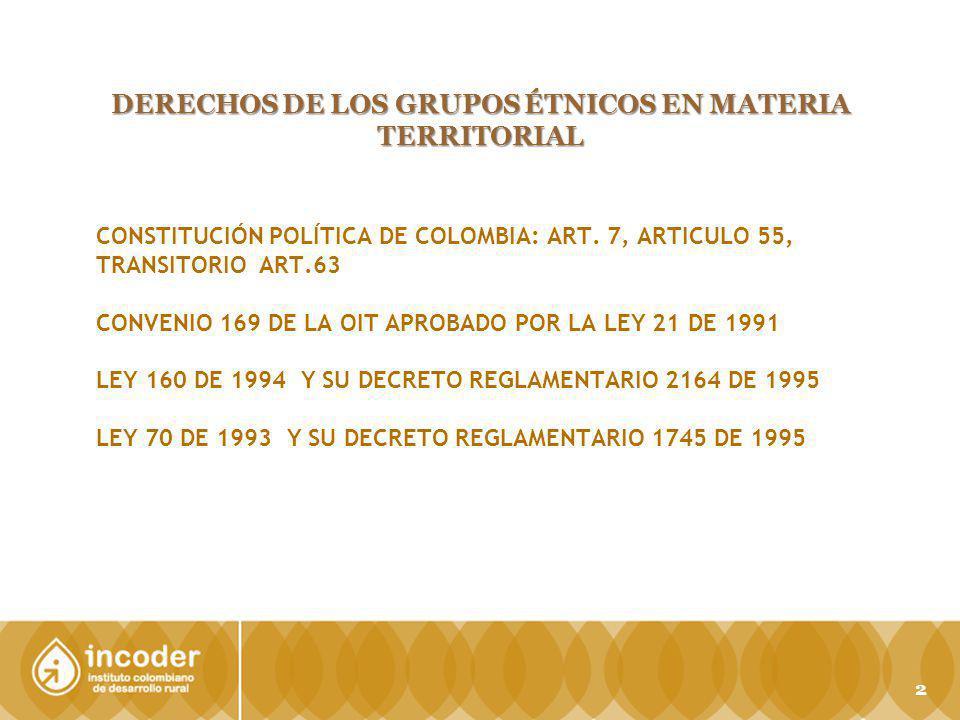 CONSTITUCIÓN POLÍTICA DE COLOMBIA: ART. 7, ARTICULO 55, TRANSITORIO ART.63 CONVENIO 169 DE LA OIT APROBADO POR LA LEY 21 DE 1991 LEY 160 DE 1994 Y SU