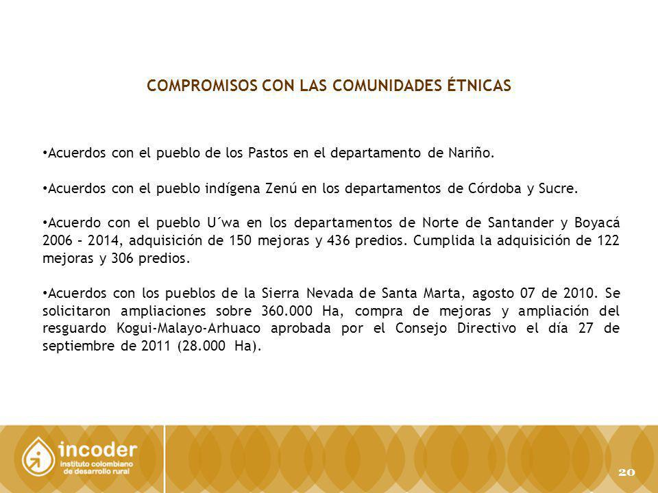 COMPROMISOS CON LAS COMUNIDADES ÉTNICAS Acuerdos con el pueblo de los Pastos en el departamento de Nariño.