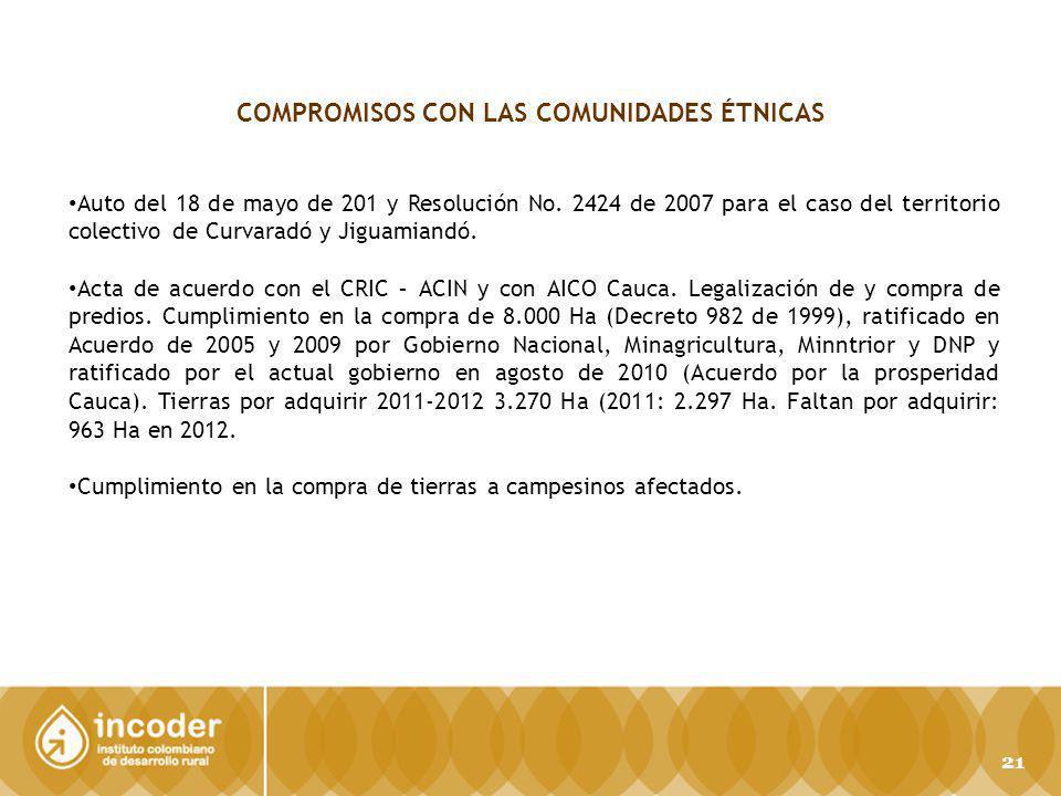 COMPROMISOS CON LAS COMUNIDADES ÉTNICAS Auto del 18 de mayo de 201 y Resolución No. 2424 de 2007 para el caso del territorio colectivo de Curvaradó y