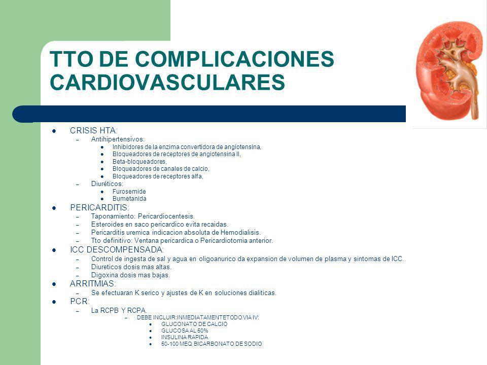 TTO DE COMPLICACIONES CARDIOVASCULARES CRISIS HTA: – Antihipertensivos: Inhibidores de la enzima convertidora de angiotensina, Bloqueadores de recepto