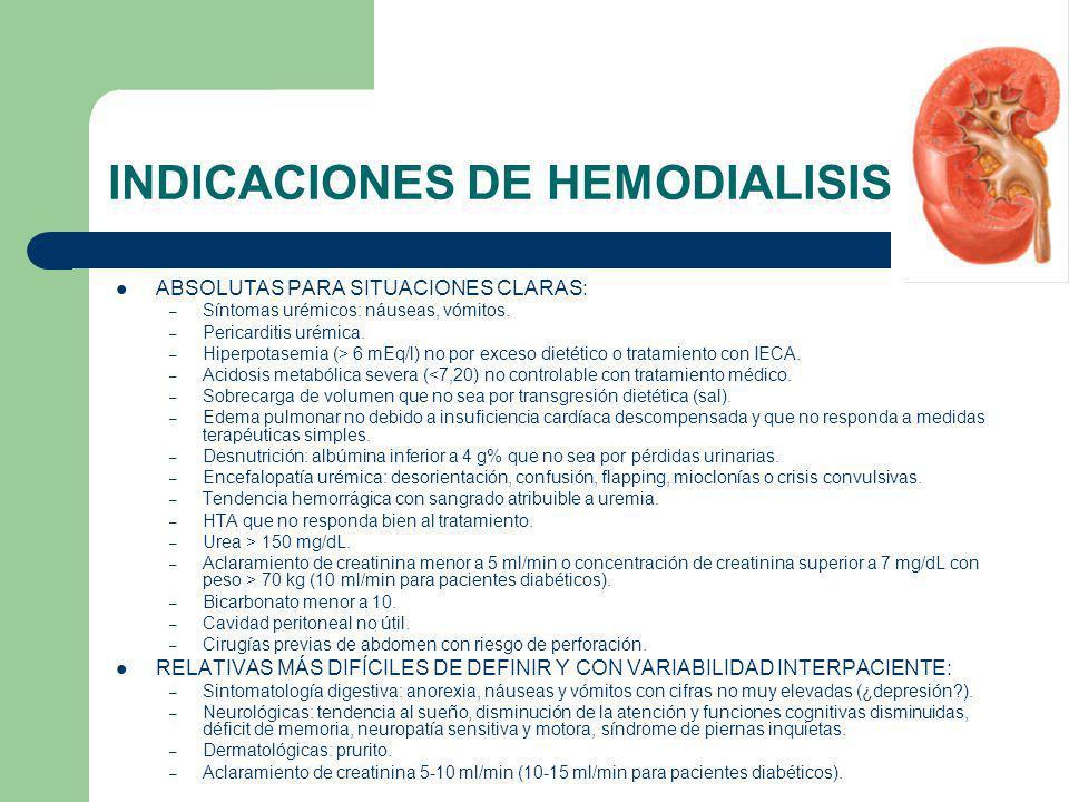 INDICACIONES DE HEMODIALISIS ABSOLUTAS PARA SITUACIONES CLARAS: – Síntomas urémicos: náuseas, vómitos. – Pericarditis urémica. – Hiperpotasemia (> 6 m