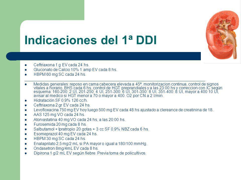Indicaciones del 1ª DDI Ceftriaxona 1 g EV cada 24 hs. Gluconato de Calcio 10% 1 amp EV cada 8 hs. HBPM 60 mg SC cada 24 hs. _________________________