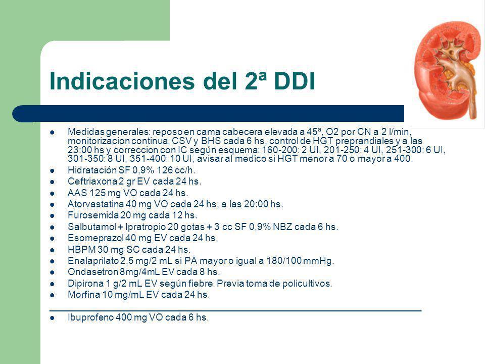 Indicaciones del 2ª DDI Medidas generales: reposo en cama cabecera elevada a 45ª, O2 por CN a 2 l/min, monitorizacion continua, CSV y BHS cada 6 hs, c