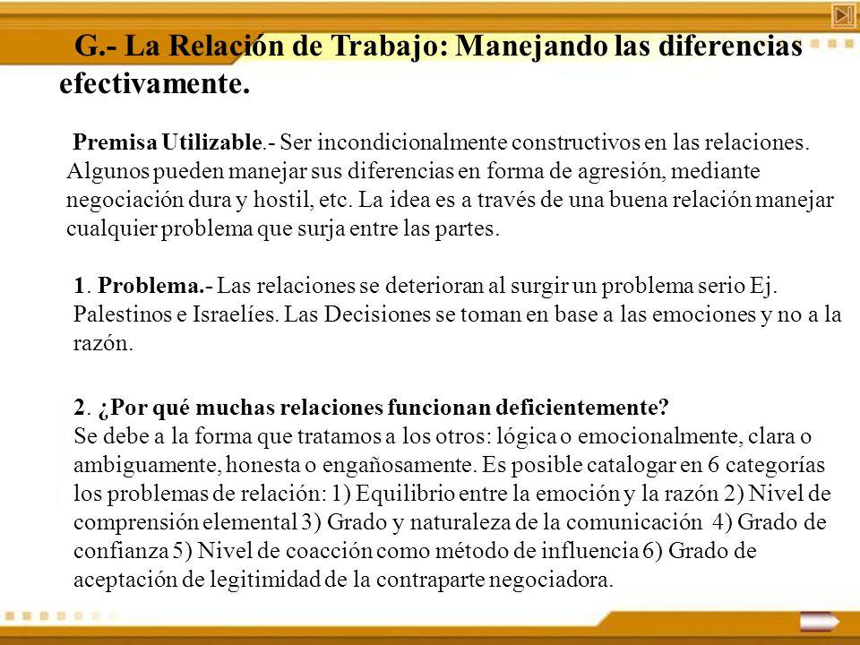 G.- La Relación de Trabajo: Manejando las diferencias efectivamente. Premisa Utilizable.- Ser incondicionalmente constructivos en las relaciones. Algu