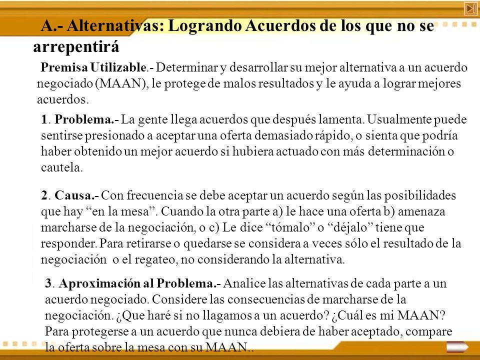 A.- Alternativas: Logrando Acuerdos de los que no se arrepentirá Premisa Utilizable.- Determinar y desarrollar su mejor alternativa a un acuerdo negoc