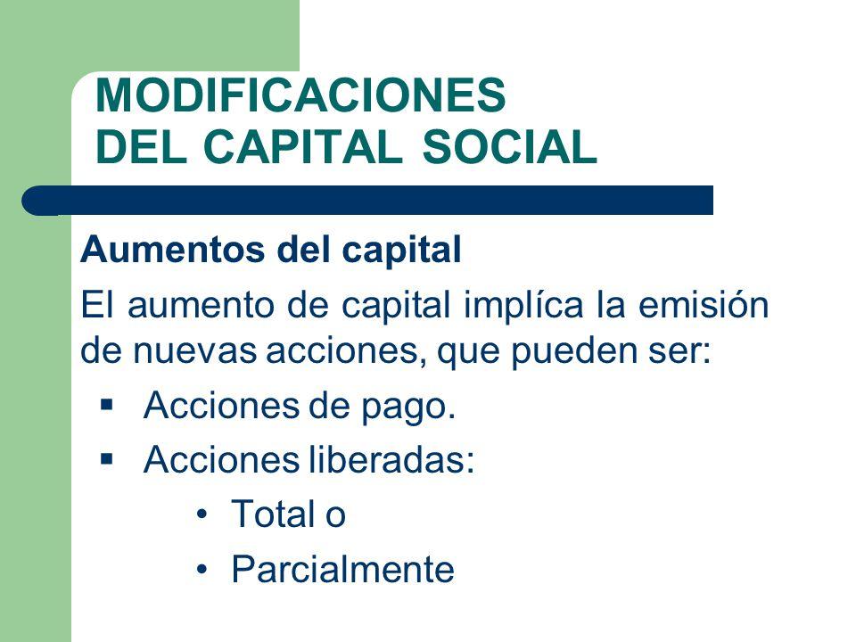 MODIFICACIONES DEL CAPITAL SOCIAL Aumentos del capital El aumento de capital implíca la emisión de nuevas acciones, que pueden ser: Acciones de pago.