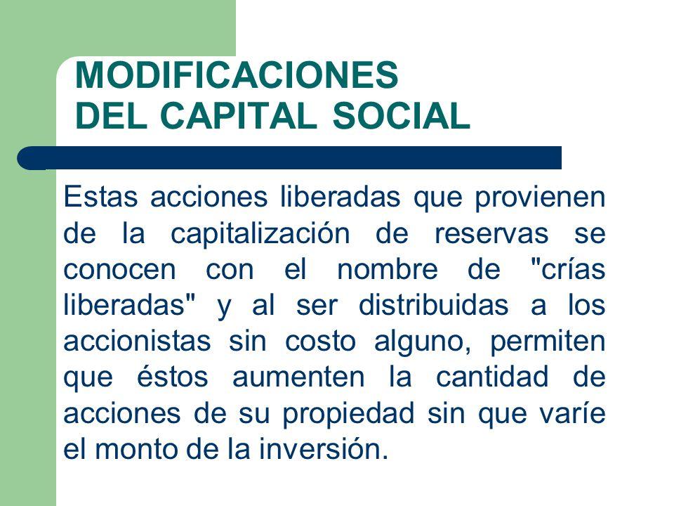 MODIFICACIONES DEL CAPITAL SOCIAL Estas acciones liberadas que provienen de la capitalización de reservas se conocen con el nombre de