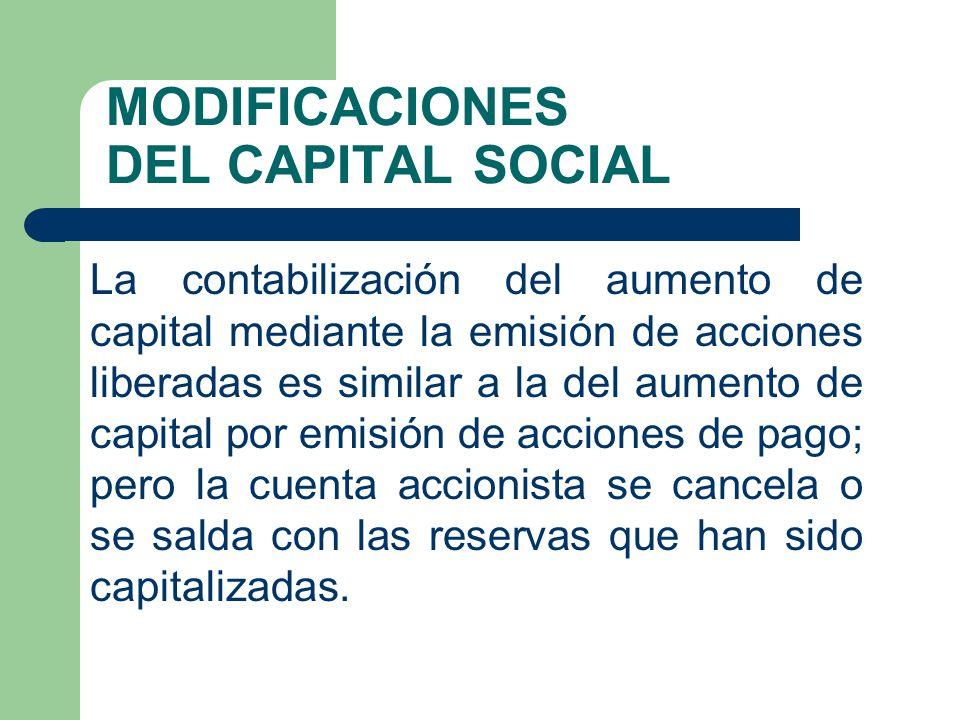 MODIFICACIONES DEL CAPITAL SOCIAL La contabilización del aumento de capital mediante la emisión de acciones liberadas es similar a la del aumento de c