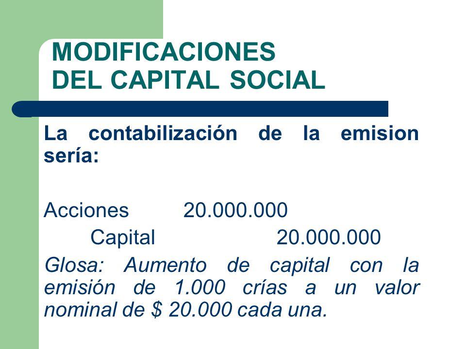 MODIFICACIONES DEL CAPITAL SOCIAL La contabilización de la emision sería: Acciones 20.000.000 Capital 20.000.000 Glosa: Aumento de capital con la emis