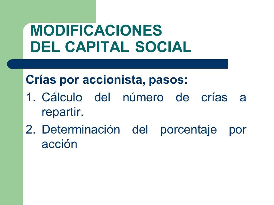 MODIFICACIONES DEL CAPITAL SOCIAL Crías por accionista, pasos: 1.Cálculo del número de crías a repartir. 2.Determinación del porcentaje por acción