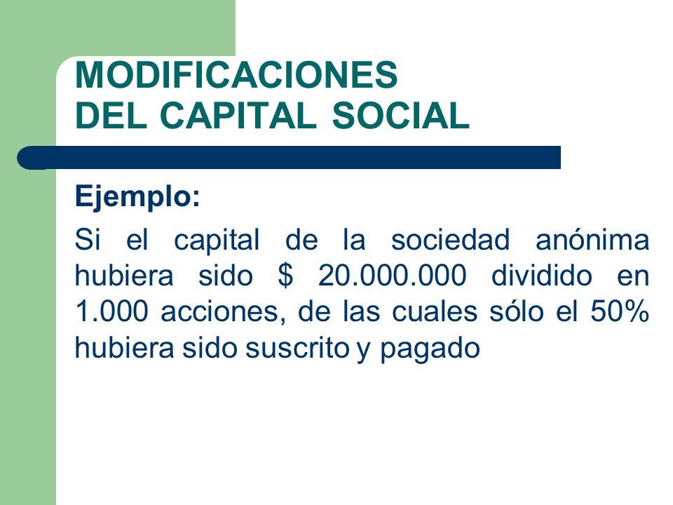 MODIFICACIONES DEL CAPITAL SOCIAL Ejemplo: Si el capital de la sociedad anónima hubiera sido $ 20.000.000 dividido en 1.000 acciones, de las cuales só