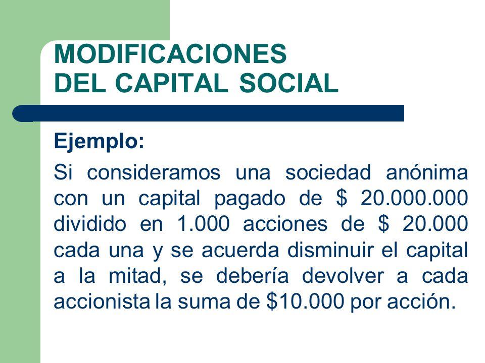 MODIFICACIONES DEL CAPITAL SOCIAL Ejemplo: Si consideramos una sociedad anónima con un capital pagado de $ 20.000.000 dividido en 1.000 acciones de $