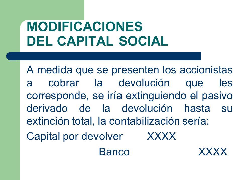 MODIFICACIONES DEL CAPITAL SOCIAL A medida que se presenten los accionistas a cobrar la devolución que les corresponde, se iría extinguiendo el pasivo