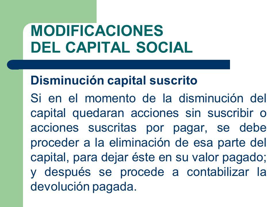 MODIFICACIONES DEL CAPITAL SOCIAL Disminución capital suscrito Si en el momento de la disminución del capital quedaran acciones sin suscribir o accion