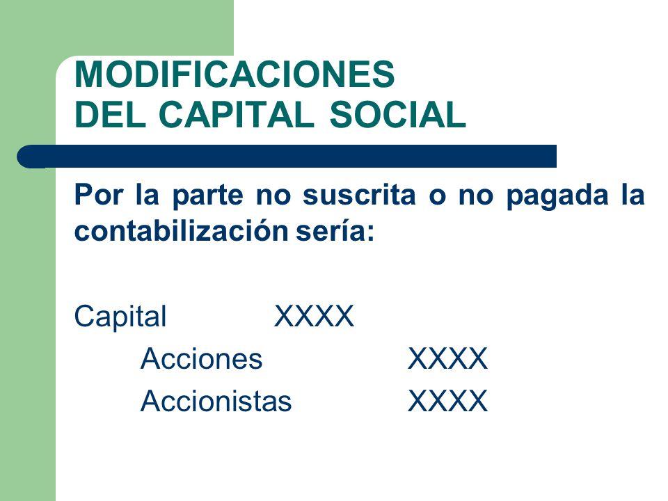 MODIFICACIONES DEL CAPITAL SOCIAL Por la parte no suscrita o no pagada la contabilización sería: Capital XXXX Acciones XXXX Accionistas XXXX