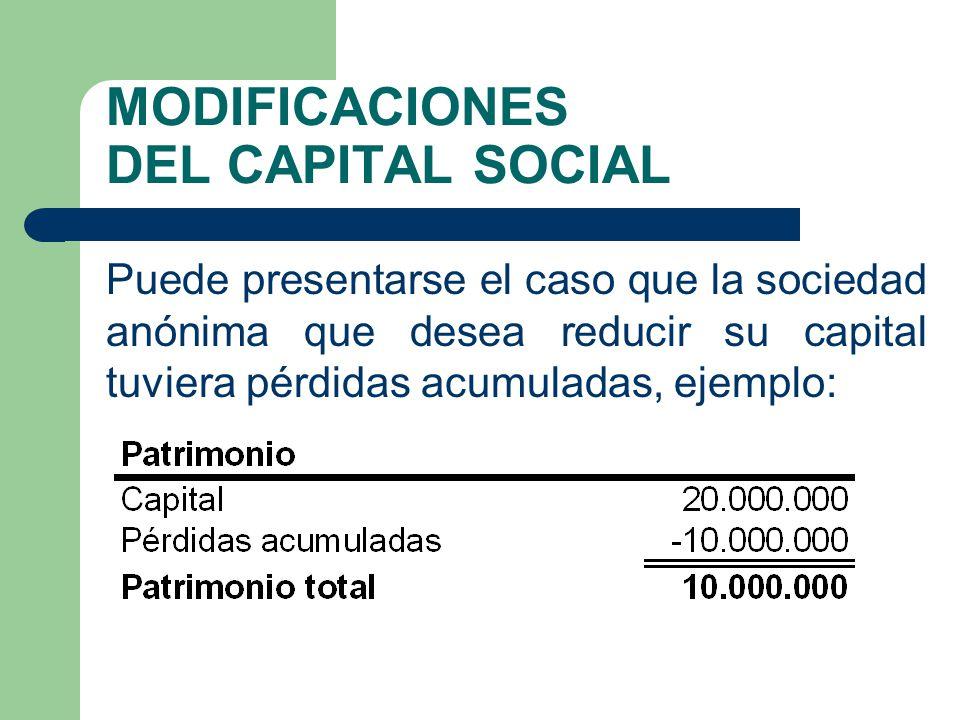 MODIFICACIONES DEL CAPITAL SOCIAL Puede presentarse el caso que la sociedad anónima que desea reducir su capital tuviera pérdidas acumuladas, ejemplo: