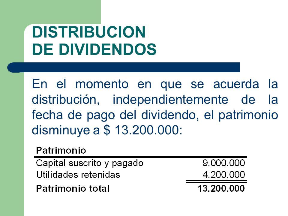 DISTRIBUCION DE DIVIDENDOS En el momento en que se acuerda la distribución, independientemente de la fecha de pago del dividendo, el patrimonio dismin