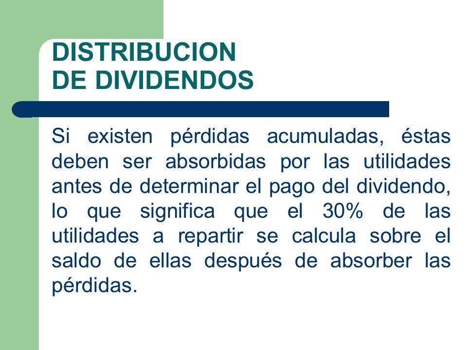 DISTRIBUCION DE DIVIDENDOS Si existen pérdidas acumuladas, éstas deben ser absorbidas por las utilidades antes de determinar el pago del dividendo, lo