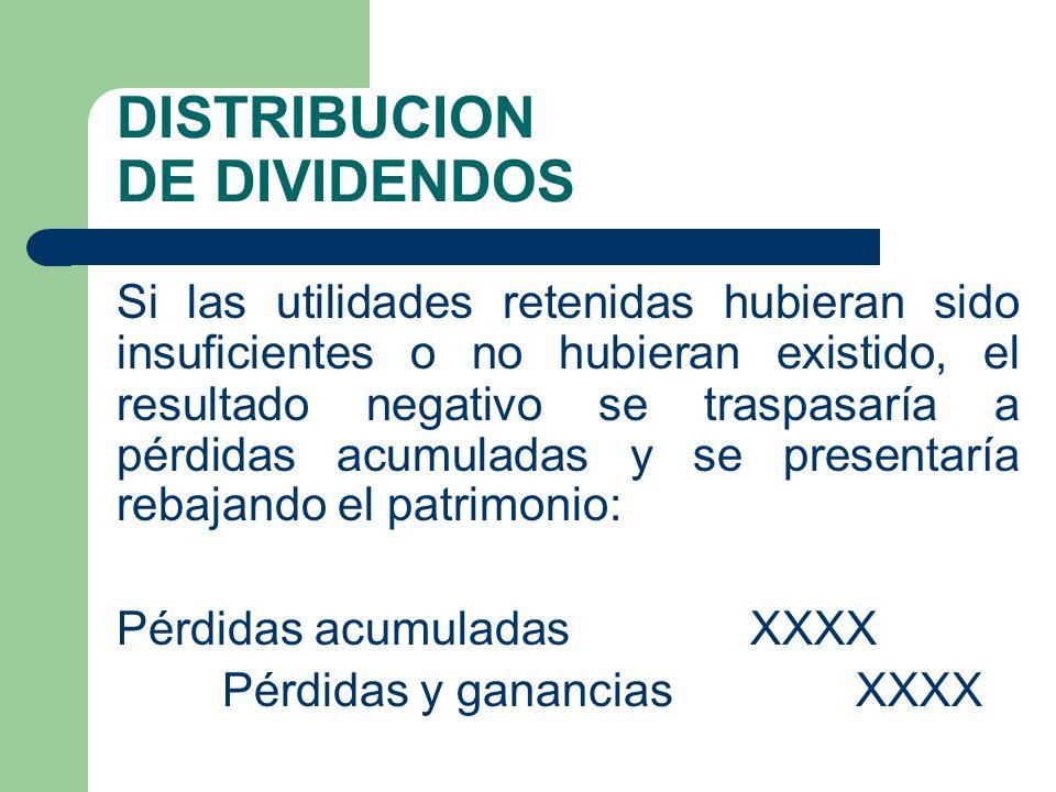 DISTRIBUCION DE DIVIDENDOS Si las utilidades retenidas hubieran sido insuficientes o no hubieran existido, el resultado negativo se traspasaría a pérd