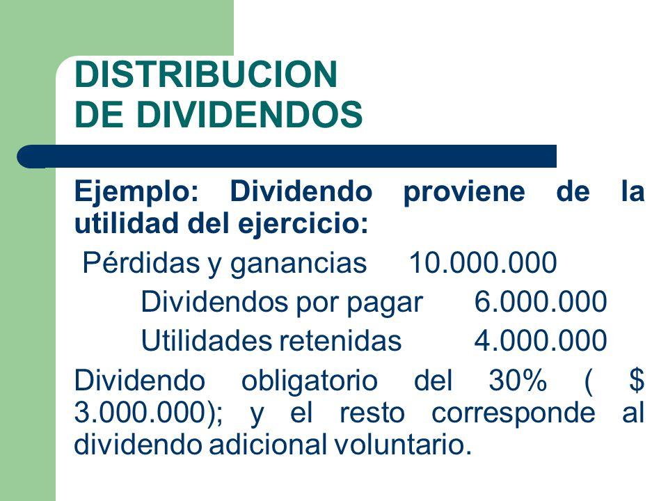 DISTRIBUCION DE DIVIDENDOS Ejemplo: Dividendo proviene de la utilidad del ejercicio: Pérdidas y ganancias 10.000.000 Dividendos por pagar 6.000.000 Ut
