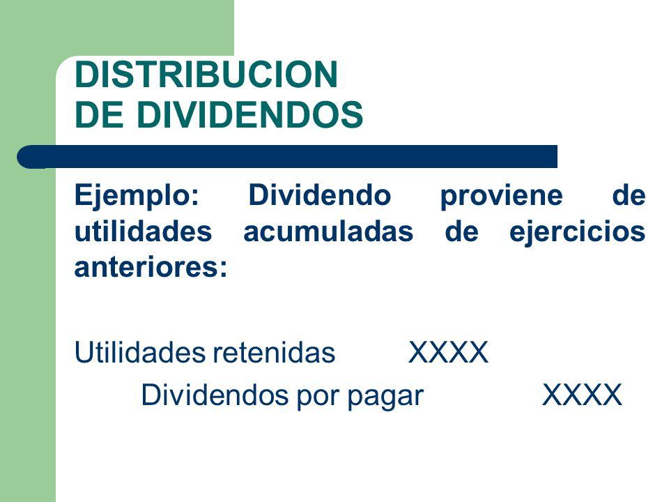 DISTRIBUCION DE DIVIDENDOS Ejemplo: Dividendo proviene de utilidades acumuladas de ejercicios anteriores: Utilidades retenidas XXXX Dividendos por pag