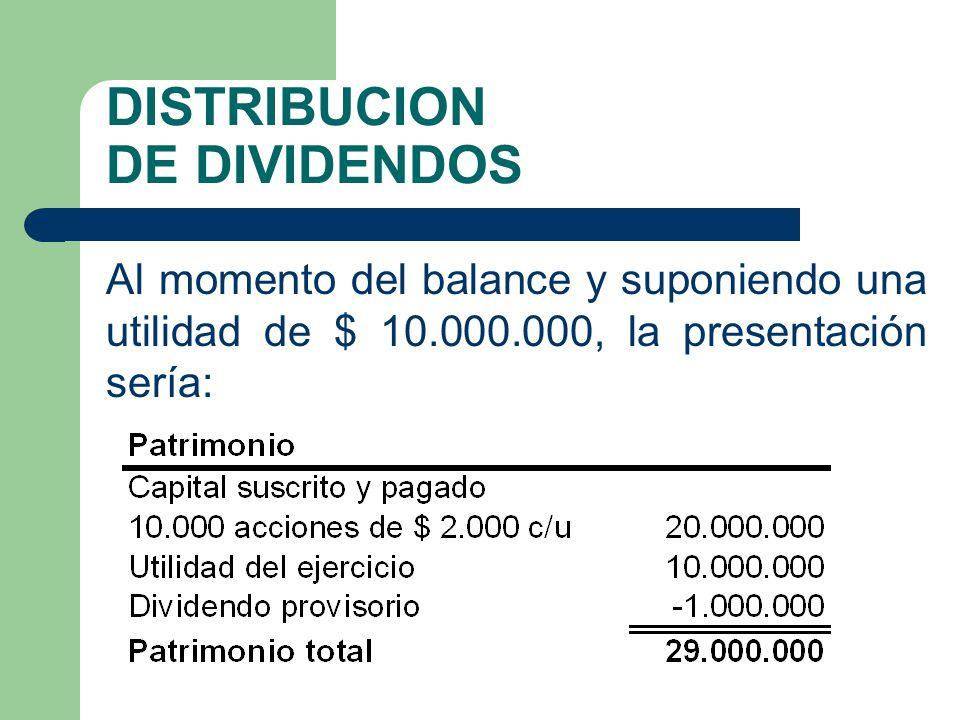 DISTRIBUCION DE DIVIDENDOS Al momento del balance y suponiendo una utilidad de $ 10.000.000, la presentación sería: