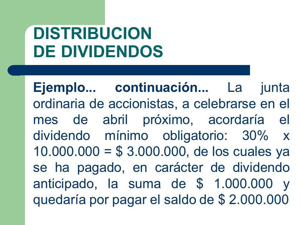 DISTRIBUCION DE DIVIDENDOS Ejemplo... continuación... La junta ordinaria de accionistas, a celebrarse en el mes de abril próximo, acordaría el dividen